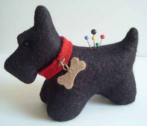 Black Wool Scottie Pincushion by Bluebird Mountain - would make a cute white westie too!