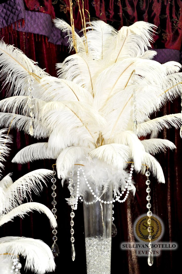 Big and Beautiful Feather's Centerpiece for the Great Gatsby by Sullivan Botello Events