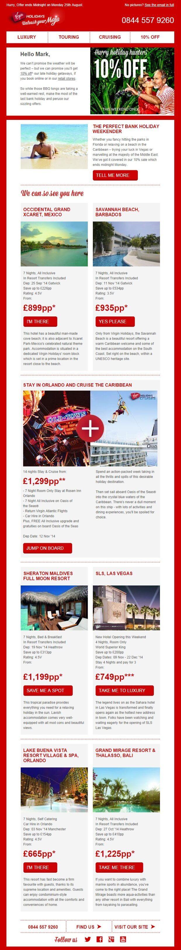 Virgin-Holidays Email Design