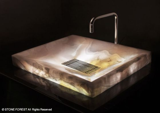 Stone Forest   Stone Sinks: SYNC Drop In Vessel Sink In Pink Onyx    Underlighted   Also Available In Ice White Onyx