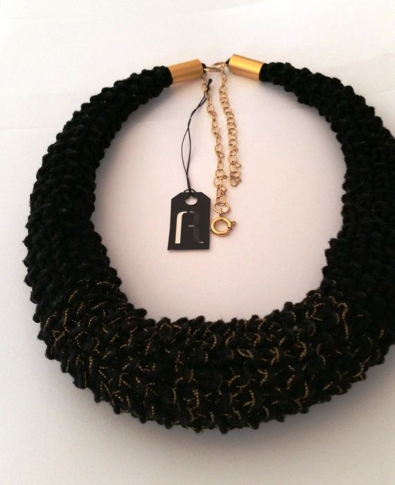 Black Knitted Necklace Rice Pattern Dramatic by rutisjewelry