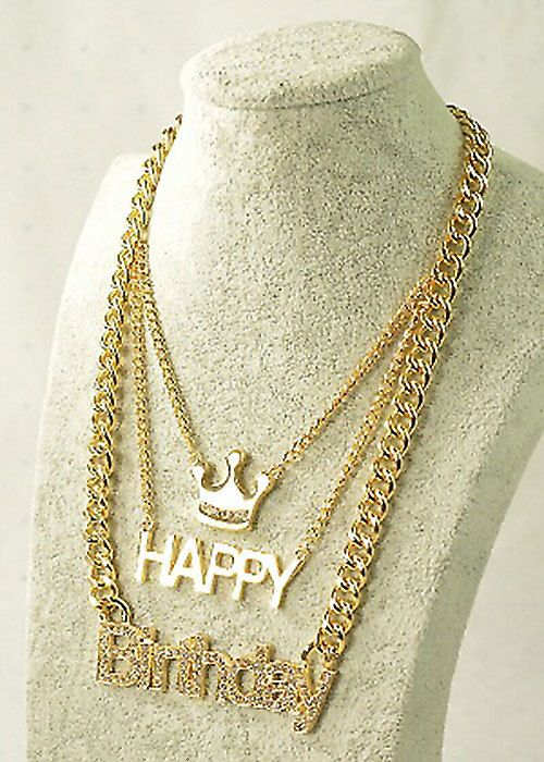 Handmade Hip Hop Necklace.  https://www.etsy.com/shop/BellagioCollection    -Studded Happy Birthday Necklace  -Double plated  -Lettered