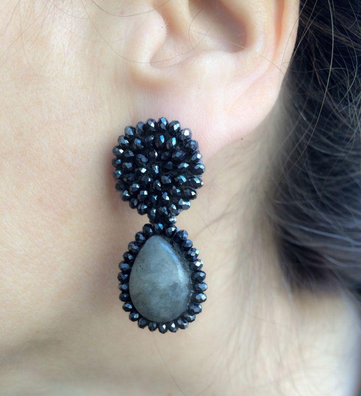 Jet black crystal and labradorite earrings