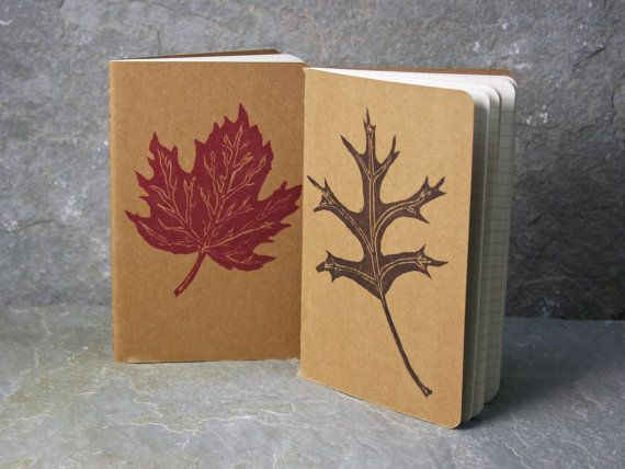 Red Sugar Maple or Pin Oak Leaf Moleskine Travel Journal.   inner pocket, stationary, fall, turning leaves. Free gift tag. on Etsy, $9.00