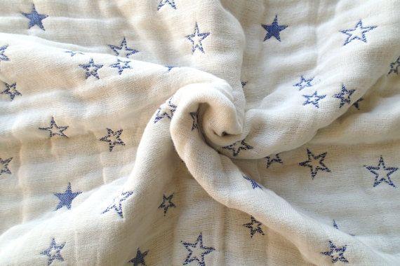 Stars blanket baby blanket blue blanket gauze blanket by AYU123