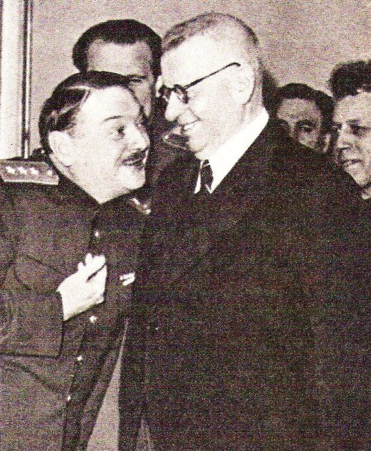 Zhdanov and finnish president Juho Paasaviki, Helsinki, 17th December 1944.