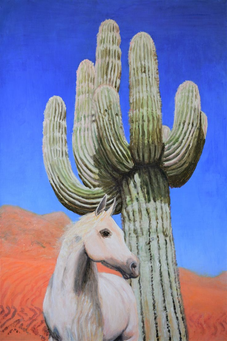 """Desert Dream - Original Acrylic Landscape Painting on Canvas Desert Cactus Horse"" by Jane Ianniello. Paintings for Sale. Bluethumb - Online Art Gallery"