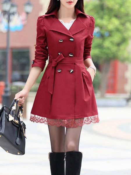 0e974839608 Shop Coats   Jackets - Burgundy Paneled Polyester Long Sleeve A-line Plus  Size Coat online. Discover unique designers fashion at PopJuLia.com.