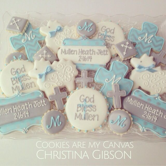 Baby Boy or Girl Dedication cookies; christening; cross cookies; sheep; monogram;