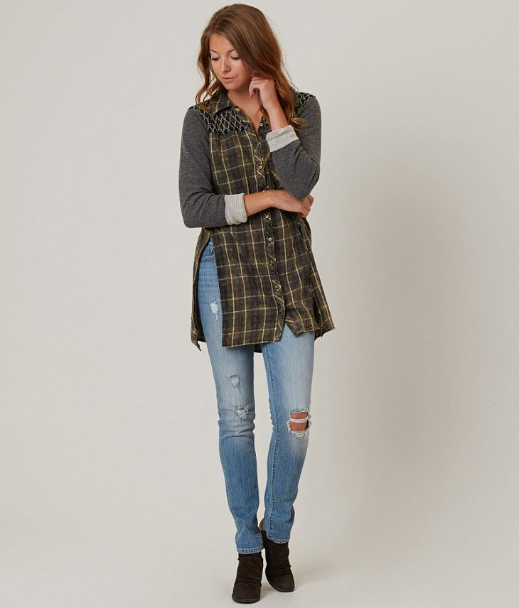 Gimmicks Plaid Shirt - Women's Shirts/Blouses in Washed Grey | Buckle