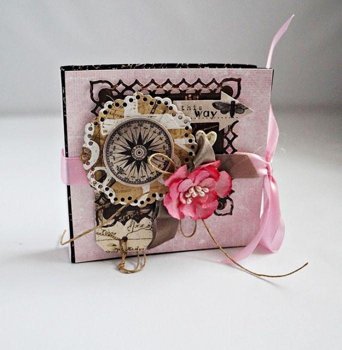 Kobiecy notesik – Notesy - kolor: kawowy, brązowy, lilla, wymiary: 10,5x10 cm – Artillo