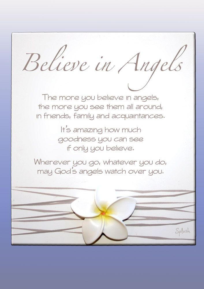 Frangipani Believe in Angels Poem PlaqueA Gorgeous gift full of meaning this Believe in Angels poem plaque from the Frangipani range by Splosh UK