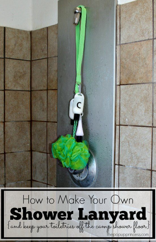 Pop Up Camping: Organizing Our Shower Supplies.  We make these awesome shower lanyards to keep all our shower supplies neat and organized.