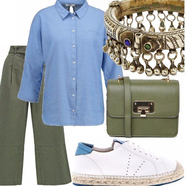 Panta palazzo verde militare, camicia manica 7/8 azzurra, sneakers con para in corda, tracolla verde militare e bracciale rigido. Adatto a tutte le occasioni in cui si ha la necessità di essere comodi senza rinunciare allo stile.