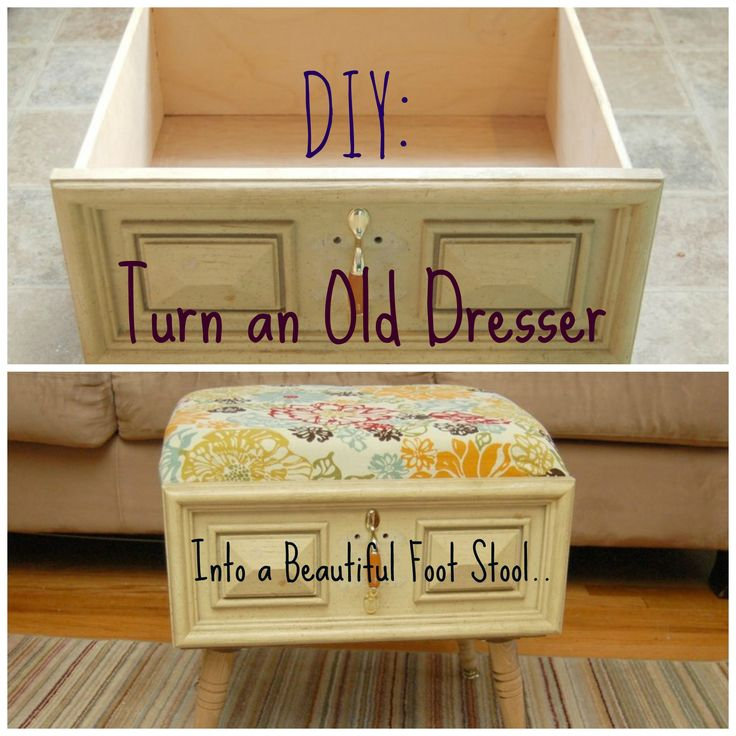 DIY: Click here to learn how to turn and old dresser into a beautiful foot stool. #diy #crafts #diyhacks
