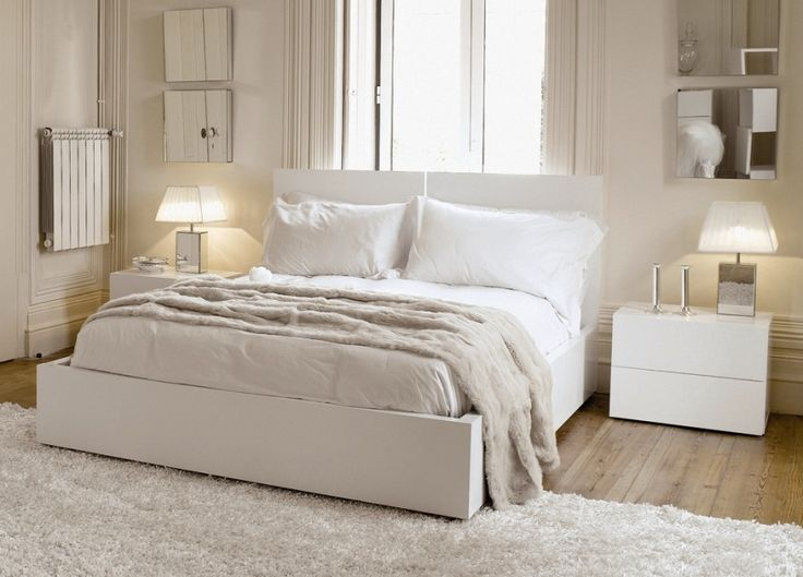 Charming Bedroom Ideas With White Headboard Bed Along Light Gray Blanket  And White Covered Bedding Also. Ikea Bedroom SetsWhite ...