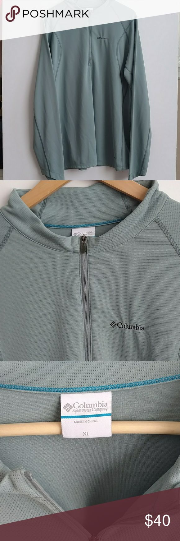 """Columbia Men's XL Gray 3/4 Zip Insect Blocker Top Columbia men's XL gray'ish blue 3/4 zip """"Insect Blocker"""" jacket. Columbia logo on front left and also lower left corner. 100% polyester. This jacket is an """"Insect Blocker"""" jacket, meaning that it repels insects & mosquitoes. In great shape!! Lay flat measures: Chest: 49"""" Length: 29.5"""" Sleeves: 28.75"""" Columbia Shirts Sweatshirts & Hoodies"""