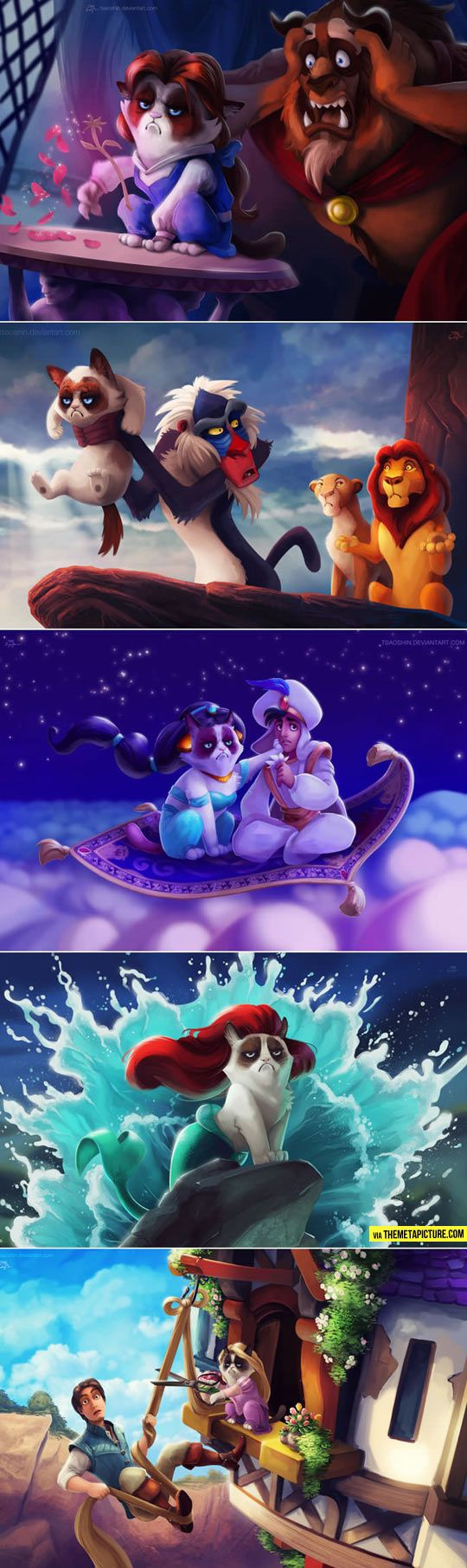 Grumpy Cat in Disney Movies. This is one of the best things I have ever seen! @Aubrey Godden Godden Nickell