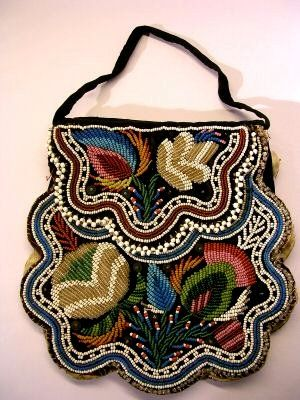 Vintage Hand Beaded Purse made by Haudenosaunee (Iroquois Confederacy), circa 1850