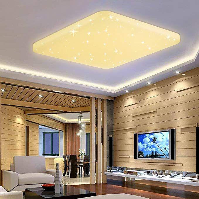 VINGO® 60W LED Kristall Deckenleuchte Sternenhimmel Warmweiß