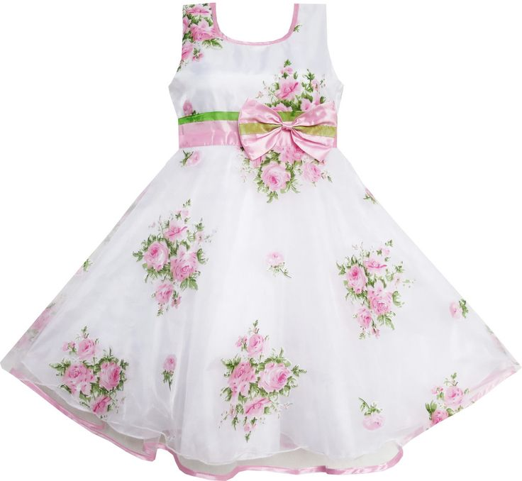 Girls Dress Pink Flower Wedding White Princess Unique Bow Size 4-12 Years