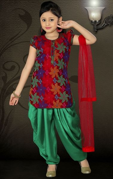 Picture of Attractive Maroon Color Kids Patiala Suit