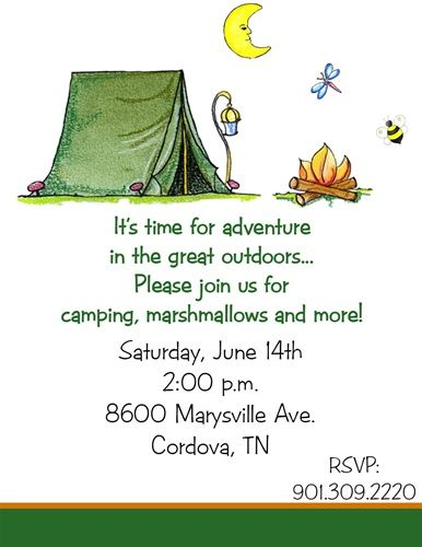 172 best party invitation wording images on pinterest birthday 10 camping camp tent birthday party invitations or printable diy u print stopboris Choice Image