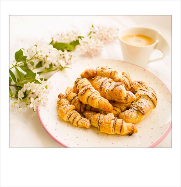 Having #Breakfast: #Coffee & #Homemade #Chocolate #Croissants. #PolaroidFx #Polaroid #Collage #Food #Sweet #Paris #France