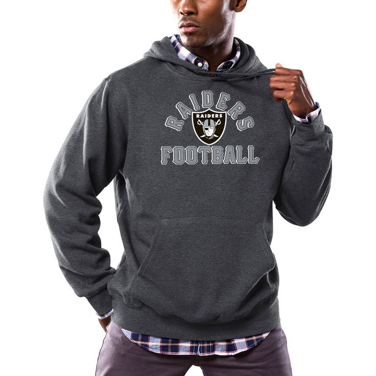 Oakland Raiders Majestic Kick Return Pullover Hoodie - Heathered Charcoal
