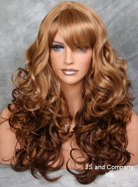 Playful Long Wavy Curly Ginger Cinnamon Mix Wig Full Bangs