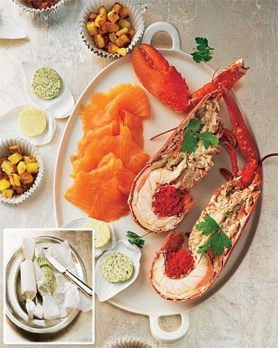 Hummer und Lachs mit Butter-Duo und Röstkartoffeln