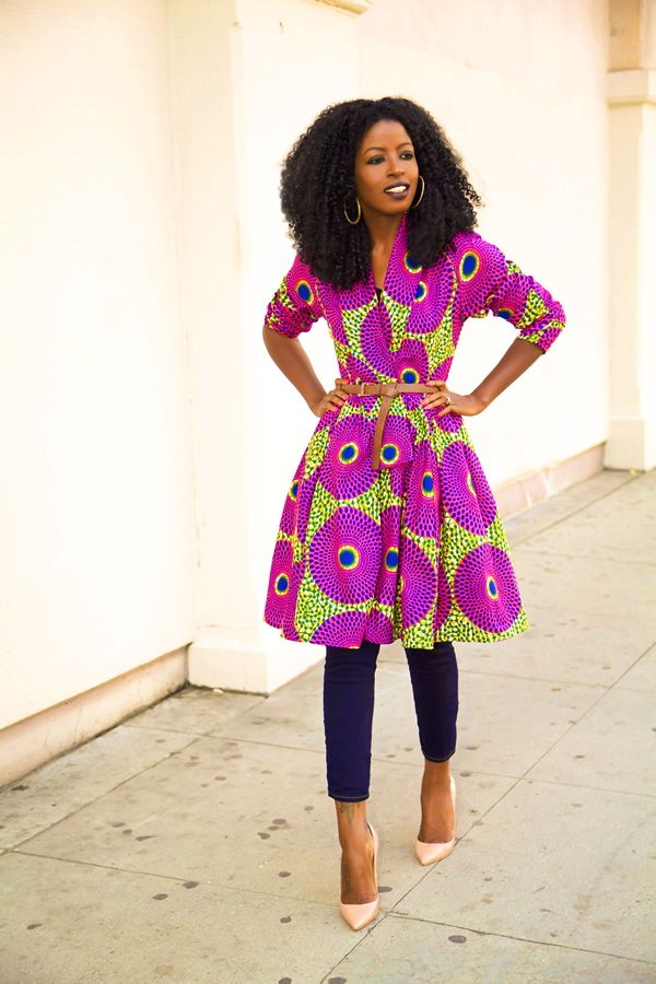 Style Pantry - African Print Wrap Jacket and Capri Jeans