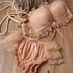 Japanese single-cute Bra the dragon Bra Japanese sexy bud wire mesh yarn bra sets underwear love shopping - Taobao