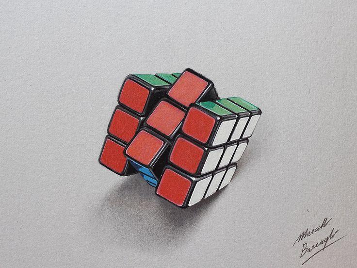 Marcello Barenghi sito ufficiale italiano: Disegno realistico: cubo di Rubik