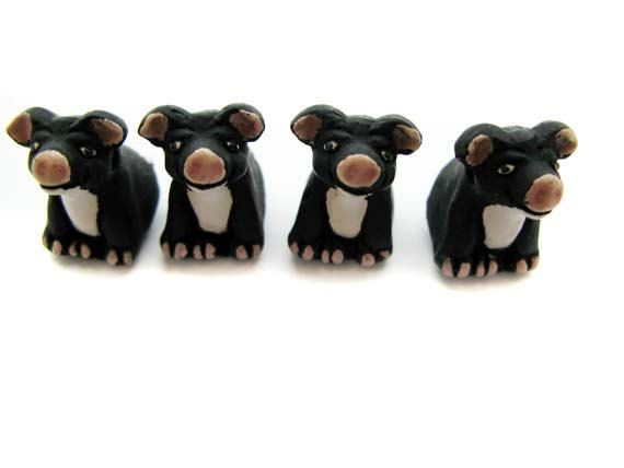10 Large Black Pig Beads  sitting  LG80 by TheCraftyBead on Etsy