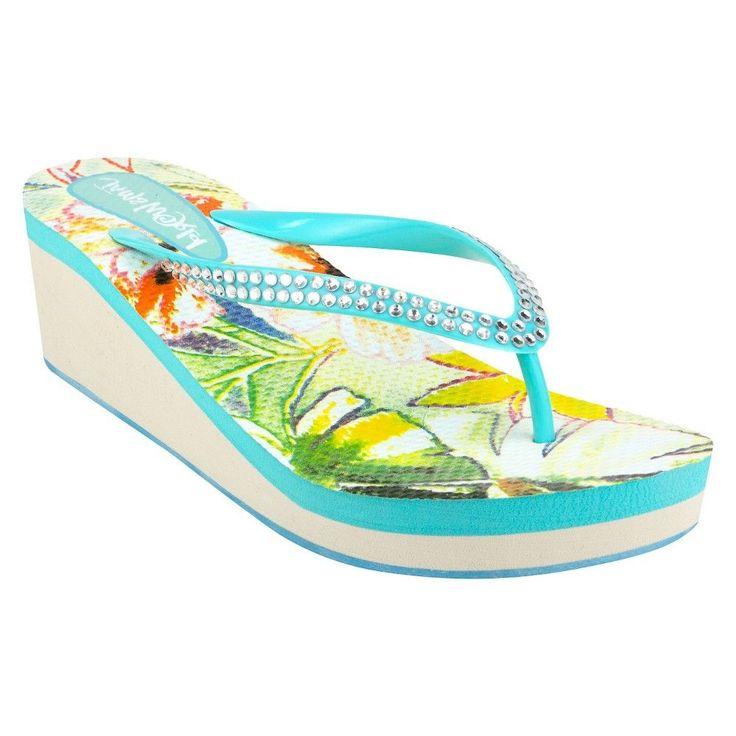 Women's Jams World Wedge Flip Flop Sandals - Aqua (Blue) 10