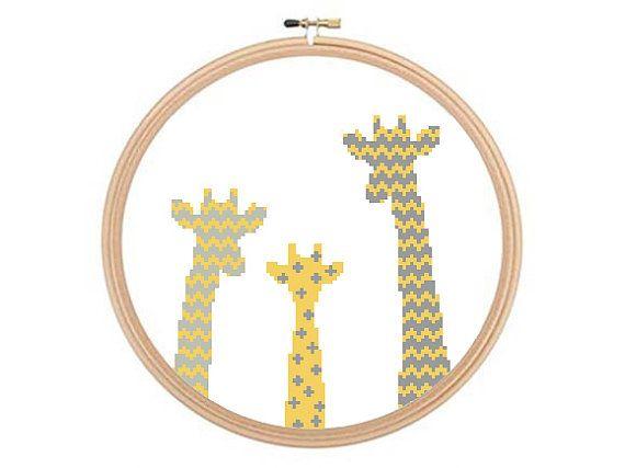 Giraffes Cross stitch pattern Giraffe by HappyNeedleDesigns