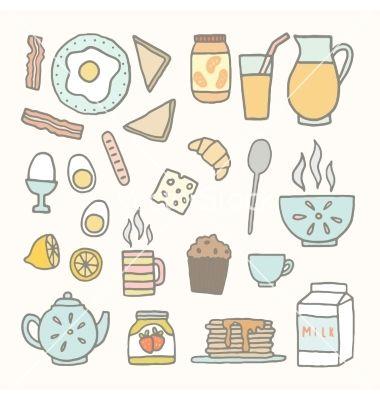 Breakfast food and drink doodles vector by kondratya on VectorStock®
