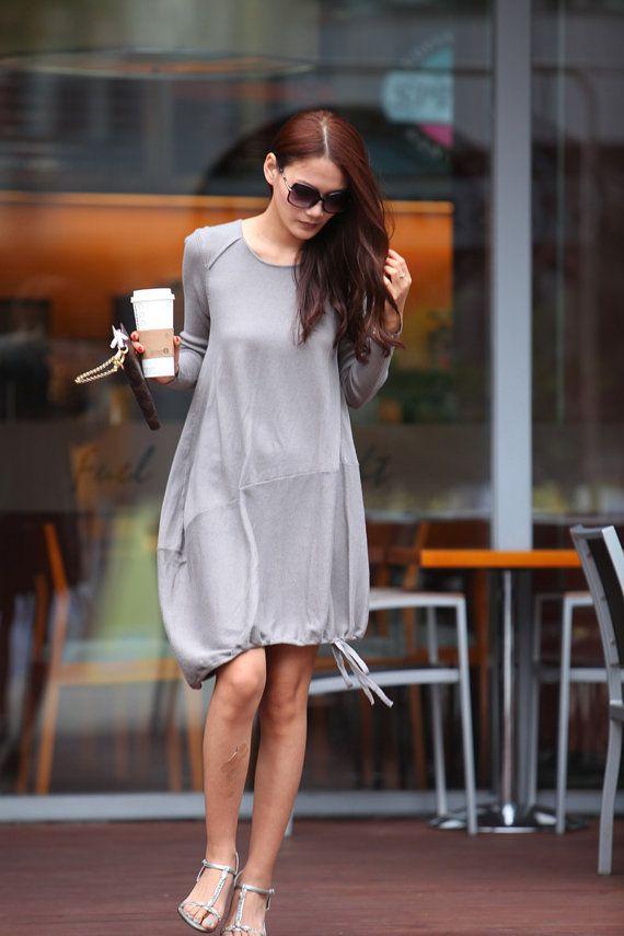 Lagenlook Cotton knitwear Dress for Women in Grey - NC329
