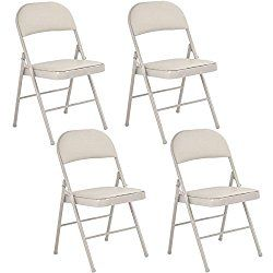 Giantex 4-Pack Folding Chairs PU Padded Steel Frame Portable Home Garden Office Furniture, Beige