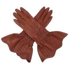 1980's Yves Saint Laurent Cognac Brown Leather Gauntlet Gloves