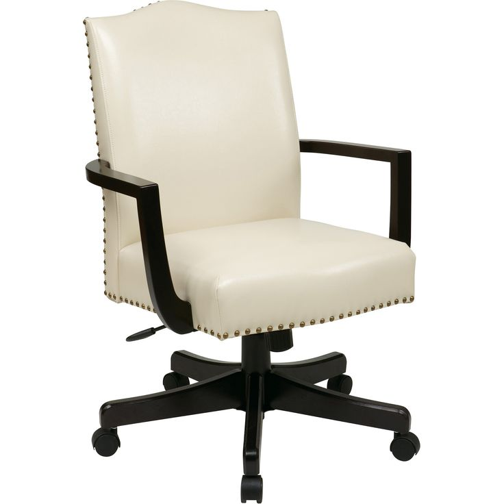 Morgan Manager's Chair with Thick Padded Seat & Back, Cream Bonded Leather