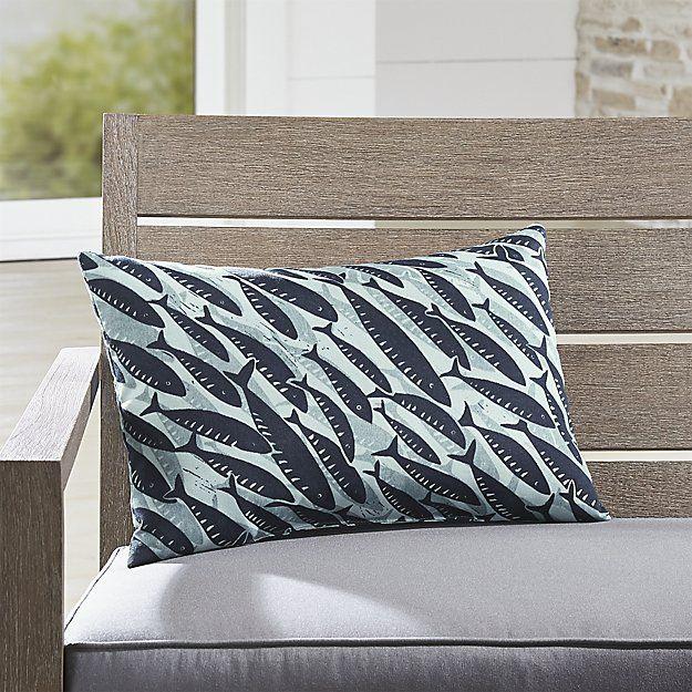 Fish Outdoor Lumbar Pillow Crate And Barrel Pillows Outdoor Cushions Outdoor Pillows