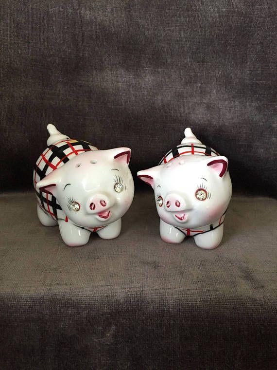 Vintage cochon salières et poivrières Japon brillant yeux