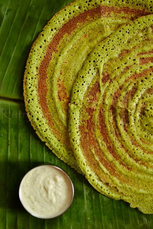 Spinach ,Coriander and Curry leaves Dosa | kurryleaves [recipe requires leaves + dosa batter] (Gluten free, Vegan)