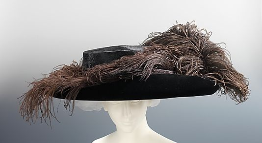 Hat 1910, American, Made of silk, wool, and feathers
