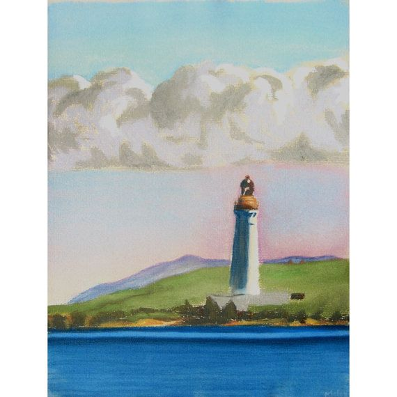 Hoy High Lighthouse from Stromness Orkney original pastel drawing on Etsy, £85.00