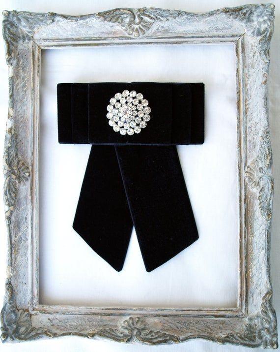 Black velvet bow tie brooch with rhinestone Victorian style gift everyday accessory Black women bowtie ladies bow tie jabot necktie
