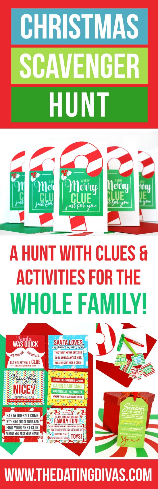 Clues and activities for a Christmas Scavenger Hunt the whole family can enjoy! Each stop on the scavenger hunt includes a Christmas-themed task or game! This would be so fun to do Christmas morning and the last stop be all the presents from Santa!