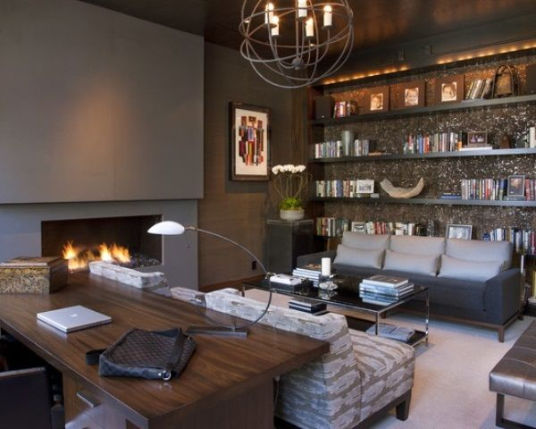 33 Stylish And Dramatic Masculine Home Office Design Ideas | DigsDigs Part 76